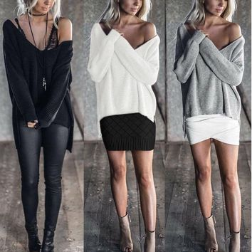 Womens Off Shoulder Long Sleeve Pullover Sweater Jumper Mini Dress