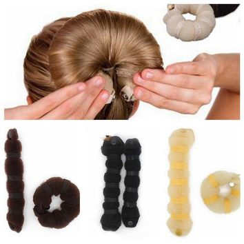 Women Hair Styling Tools Hairpin Headwear Elegant Magic Style Buns Rope Braider Hair Band 2 Pc/Set Lady Hair Accessories