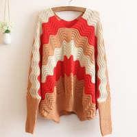 A 091031 Wavy stripes hit the color bat sleeve sweater