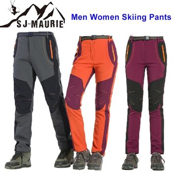 2018 New Men Women Snow Pants Winter Outdoor Couple Ski Pants Snowboard Skate Snow Pants Warm ski pants Fleece Climbing Trousers