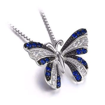 Papillon Blue Spinel Butterfly IOBI Precious Gems Pendant Necklace
