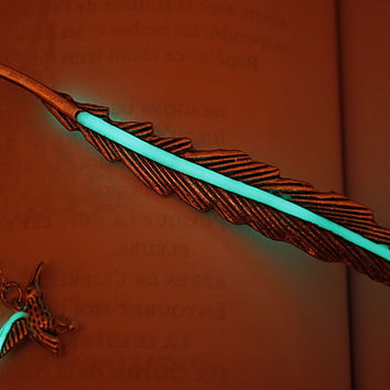 Feather BOOKMARK with Little Hummingbird GLOW in the DARK