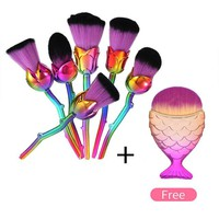 6pcs Multicolored Rose Flower Shape Make Up Brushes+ FREE GIFT