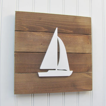 Sailboat, Nautical, Nursery Wall Decor, Nautical Nursery, Nursery Decor, Nautical Decor, Boys Room, Wall Art, Pallet Board, Sailboat Sign