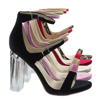 Toodee Black Velvet By Delicious, Clear Perspex Chunky Block Heel, Floral Embroidered Stitch Sandal