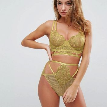 ASOS Kitty Lace Detail Longline Underwire Bra Set in Green at asos.com