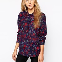 Jack Wills Printed Shirt With Curved Collar