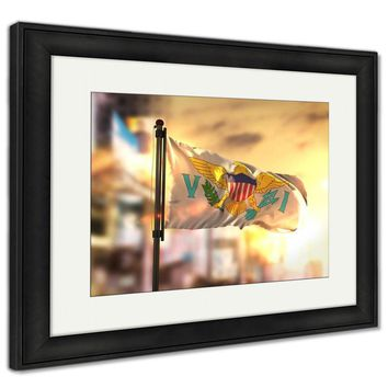 Framed Print, United States Virgin Islands Flag Against City Blurred Backgroun