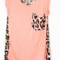 Leopard Patchwork Sleeveless Chiffon Blouse