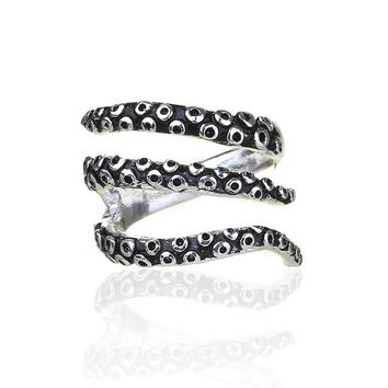 Retail Tentacle Ring Octopus Ring Seductive Tentacle Ring in ancient silver Plating  by Octopus adjustable size