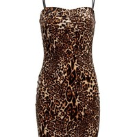Stray Cat Velvet Leopard Print Sleeveless Cocktail Mini Dress