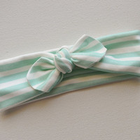 Infant Girl Headband - Mint Stripe - Cotton Knit - Stretchy Headband -Toddler Headband - Knot Headband