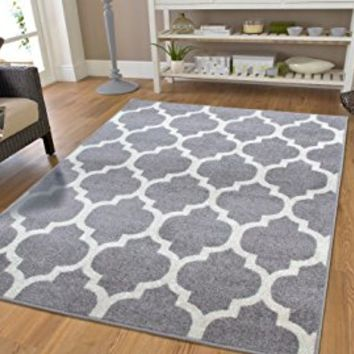 Luxury Large 8x11 Gray Moroccan Trellis Area Rug Grey and White Contemporary Rugs For Living Room Great Quality and Washable, Large 8x11
