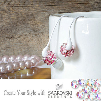 Pink Swarovski Crystal Earphone Headphone Earbuds Handsfree with Microphone for iPhone 5 4G or Any 3.5mm Plug
