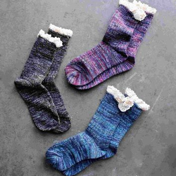 marled crew socks with lace (6 colors) Day-First™