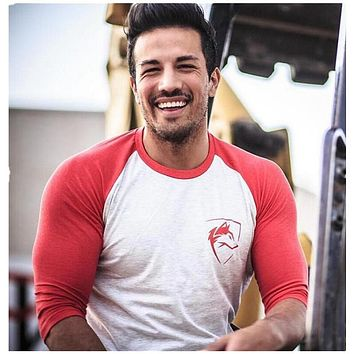 NANSHA New Men Three Quarter Sleeve T-shirts Cotton Gyms Fitness Workout Clothing Male Casual Fashion Brand Tees Tops