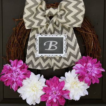 Spring Wreath Burlap Chevron - Purple and White Dahlia Flowers CHALKBOARD Frame - Personalized Decoration - Burlap Bow