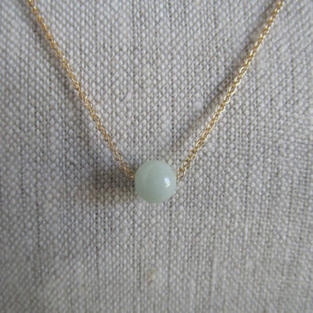 Light Green Stone Necklace on Gold Chain