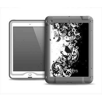 The Abstract Black & White Swirls Apple iPad Air LifeProof Nuud Case Skin Set