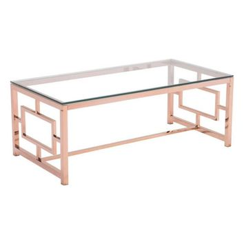 ZUO Modern Geranium Coffee Table Rose Gold 100184 Living Side Consoles