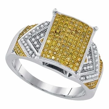10kt White Gold Women's Round Yellow Color Enhanced Diamond Rectangle Cluster Bridal Wedding Engagement Ring 3-8 Cttw - FREE Shipping (USA/CAN)