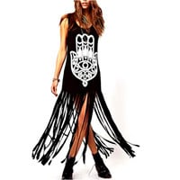 Summer Dress Tassel Black Long O-Neck Women Summer Dress Sexy Dresses fringe Hand Palm Black dress punk rock ethnic print