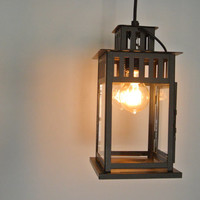 Black Metal Lantern Hanging Pendant Light Fixture