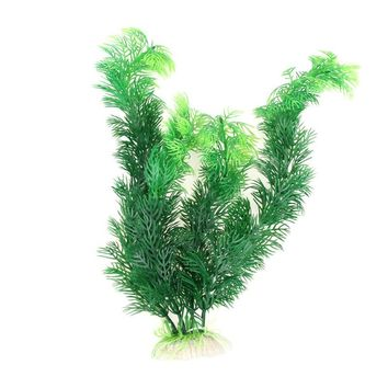"Plastic Aquarium Decorations 11.8"" Green Artificial Plastic Plant Grass FishTank Aquarium Ornament Decor"