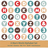 Alphabet Numbers Symbols Letter Clipart Nursery Letters Baby Boy Letters Little Gentleman Digital Alphabet Clip Art Set Red and Blue Brown