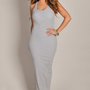Anabelle Grey Cute and Casual Sleeveless Tank Maxi Dress