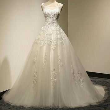 Bridal A-Line Scoop Neck Lace Up Sweep Train Wedding Dress  With Beaded mariage Wedding Gowns
