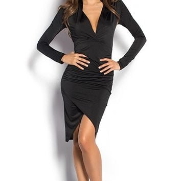 Dhalia Black Long Sleeve Plunging Neckline Tulip Skirt Dress