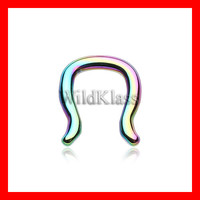 Rainbow Septum Ring 16g 14g 12g 10g Black Gold Rose Gold Rainbow Purple Blue Green Septum Ring Cartilage Earrings Nipple Ring Tragus Jewelry