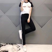 """Gucci"" Women Casual Fashion Multicolor Stripe Letter Print Short Sleeve Trousers Set Two-Piece Sportswear"