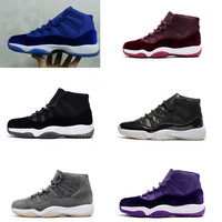 2017 Air Jordan retro 11 men basketball shoes Velvet Heiress Purple blue black wool Premium Grey Suede space jam 45 Metallic Gold sports Sneaker