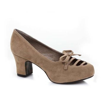 Tan Faux Suede Vintage Style Bow Accent Chunky Heel Shoes