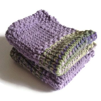 Dishcloth Washcloth Purple and Green Multicolored Handknit Set of Two