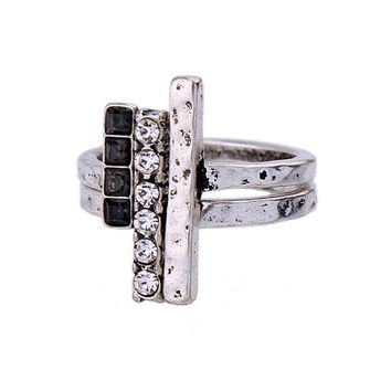 Silver Color Geometric Crystal Finger Rings for Women