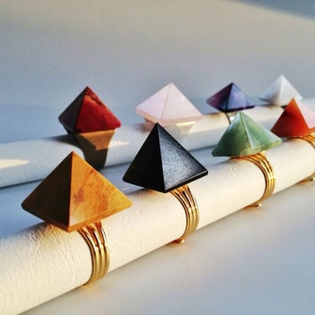 Carnelian Pyramid Ring, Gold Statement Ring, Cocktail Ring