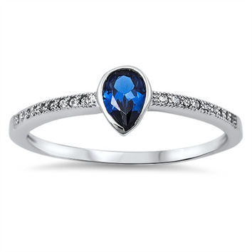 Sterling Silver Cute Solitaire Pear Shaped Blue Sapphire Ring Sz 5-10