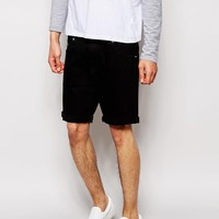 ASOS Denim Stretch Slim Shorts In Black
