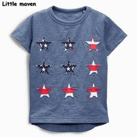 Little maven baby boy clothes 2017 summer boy short sleeve cotton tee tops embroidered star t shirt 50684