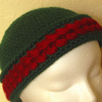Winter Cap - Wine Red Clusters on Pine Green - Crocheted Handmade Soft Hat - Teen or Adult Size