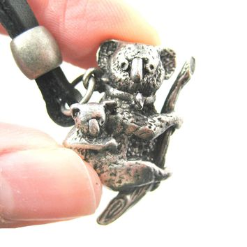 Koala Bear Mother and Baby Animal Pendant Necklace in Silver