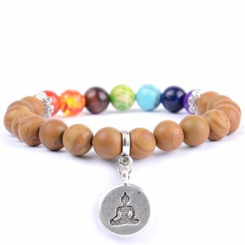 7 chakra Healing bracelet Men Natural Stone Beads Budhha Charm Bracelets & Bangles For Women Yoga Meditation Jewelry Dropship