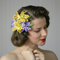 "Orchid Headpiece, Yellow Purple Flower Hair Clip, Iris Fascinator Accessory, 1950s Floral Vintage Silk Hairpiece - ""Kiss Me in Spring"""