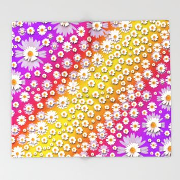 Falling flowers from heaven Throw Blanket by Pepita Selles