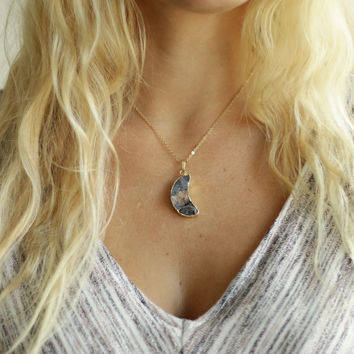 Crescent Moon Druzy Necklace