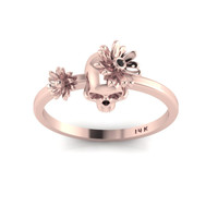Day of the Dead Skull 14K Rose Gold Ring Black Diamond