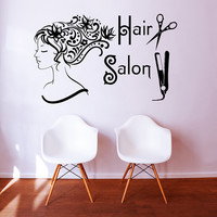 Wall Decal Vinyl Sticker Decals Art Home Decor Design Mural Hairdressing Hair Beauty Salon Nail Girl Woman Scissors Fashion Cosmetic #4